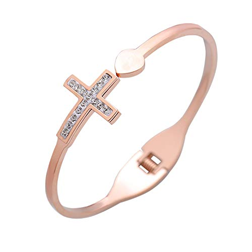 (MYOSPARK Dainty Rose Gold Sideway Cross Bangle Bracelet Religious Jewelry First Communion Baptism Gift for Christian (Cross Bangle) )