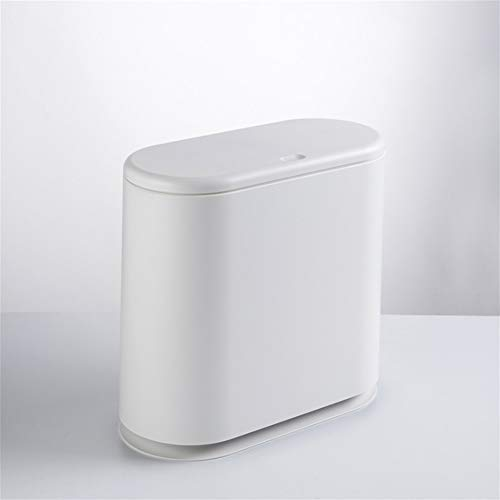 (Tight Trash can Bathroom Trash can Small Trash can Home Office Narrow Space Oval Push-Type Bullet Cover Trash can,White)