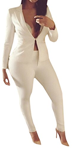 Chuanqi Women's Solid White Professional OL Blazer Deep V-neck Suits 2 Piece, White,Medium (Sexy Pants Suits)