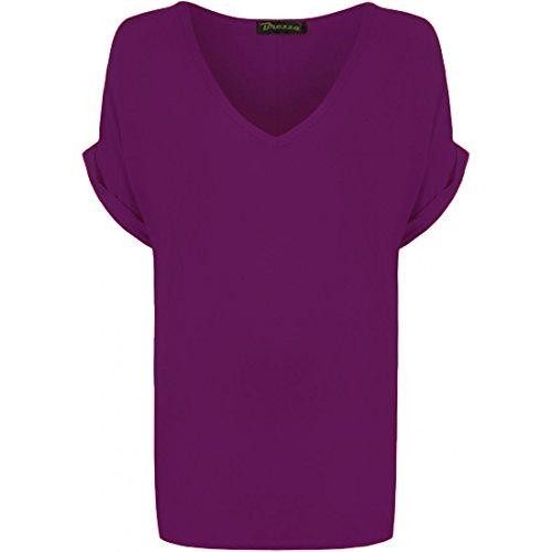 Top Da V Maniche Shirt Taglia Grossa 8 Scollo Fit Baggy Purple Pipistrello nbsp;nbsp;24 T A Misure Oversize Donna Casual wfY0SBw