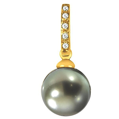 MATA - Pendentif Perle de Tahiti et diamants - Or 18 carat - Poids du diamant: 0.05 carat - Diamètre de la perle: 9 à 10 mm - www.diamants-perles.com