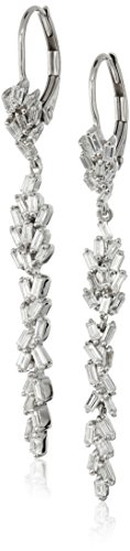 - 10k White Gold Leaf Taper Diamond Drop Earrings (5/8cttw, I-J Color, I2-I3 Clarity)