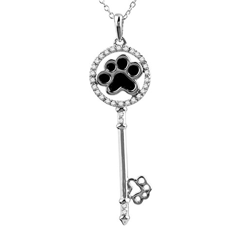 Silver Diamond Keychain Sterling (Tender Voices 1/10cttw Key chain necklace with Enhanced Black Paw Pendant in Sterling Silver - A perfect gift for the Loved One)