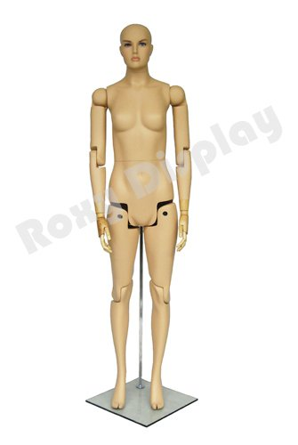 (MZ-FM01-S) ROXYDISPLAY™ Female Mannequin, Flexible Head, arms and Legs with Wooden Articulated Hands.