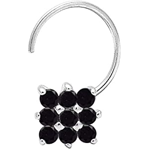 monde éblouissant Black 925 Sterling Silver Cubic Zirconia Cluster Flower Nose Pin for Women and Girls