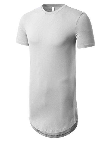 (JD Apparel Mens Basic Hipster Hip Hop Elong Crewneck T-shirt 2XL White)
