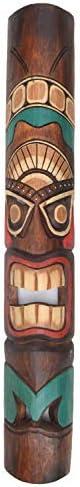 Interlifestyle 3 Tiki Maskers 100cm in Tiki Hawaii Style Masker Muur 3 Houten Maskers