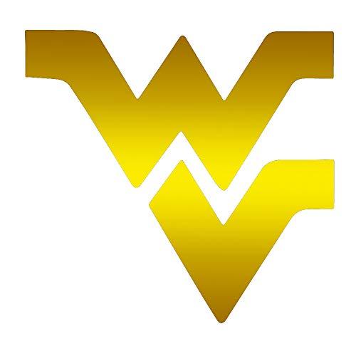ANGDEST WVU WEST Virginia University (Metallic Gold) (Set of 2) Premium Waterproof Vinyl Decal Stickers for Laptop Phone Accessory Helmet Car Window Bumper Mug Tuber Cup Door Wall Decoration ()