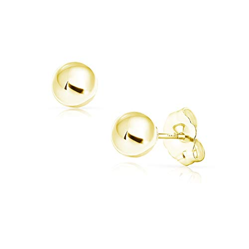 - SOLIDGOLD - 14K Gold Filled Ball Stud Earrings Dazzling Yellow Gold | 6mm