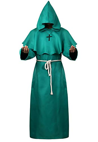 Halloween Cosplay Costume Cloak Medieval Friar Priest Monk Robe Hooded Cap Cloak for Wizard Sorcerer Green XL