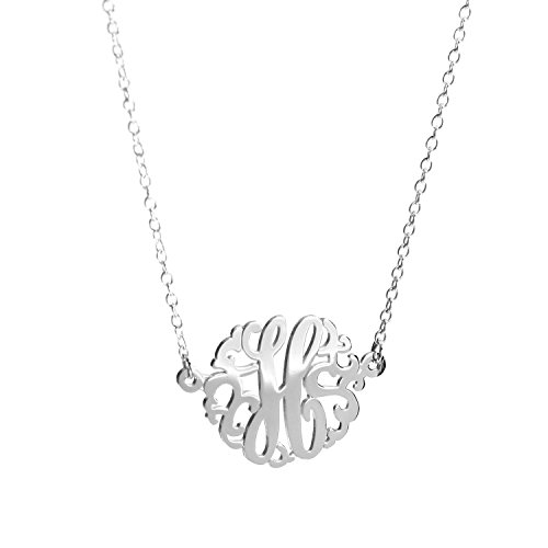 Deidreamers Sterling Silver Single Initial Monogram Necklace (Small(15mm)/H) (Sterling Silver Monogram Necklace)