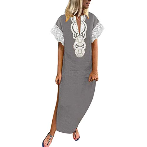 Women Short Sleeve Polyester V-Neck Lace Dress Casual Printing Long Party Dress Gray -