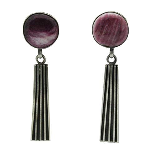 Melvin Francis, Earrings, Purple Spiny Oyster Shell, Silver, Navajo Handmade, 2.5