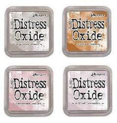 Tim Holtz Ranger Distress Oxide Ink Bundle O - Four 3'' x 3'' Pads - Milled Lavender, Victorian Velvet, Pumice Stone, and Rusty Hinge for November 2018