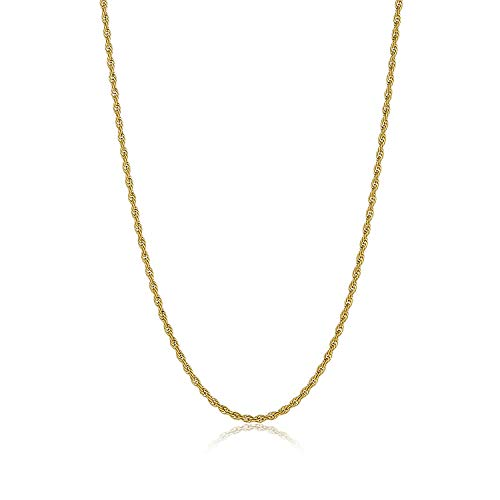 """3MM thick 18k GOLD FILLED ROPE CHAIN ITALIAN 24/"""" necklace men female Free box"""