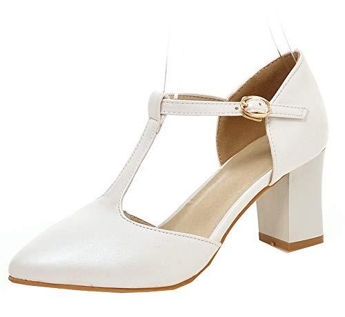 Donna Ballet Tacco Bianco Luccichio AgooLar Fibbia GMMDB010566 Flats Medio Puro pwqTWgd
