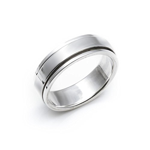 Silverly Women's Men's Unisex .925 Sterling Silver Flat Spinner 6mm Thumb Ring, Size: US 8 ()