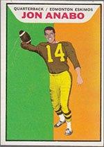 1965 Topps CFL (Football) card#30 Jon Anabo of the Edmonton Eskimos Grade very good/excellent
