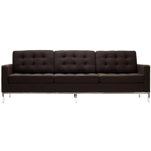 Modway EEI-188-CHC Loft 12″ Sofa with Rich Wool Upholstery Tufted Seat and Back with Buttons Tubular Stainless Steel Frame and Foot Caps in Chocolate