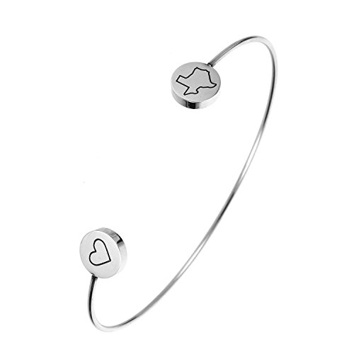 (HUAN XUN State Bangle Bracelet Texas TX - Open Wire Cuff Stainless Steel)