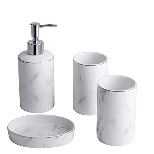 (White Bathroom Accessories Set - 4 Pieces Bath Ensemble Set Include Hand Soap Dispenser Soap Dish and 2 Tumblers Marble Bathroom Accessory Set for Bathroom Countertop Ceramic Soap Dispenser Set)