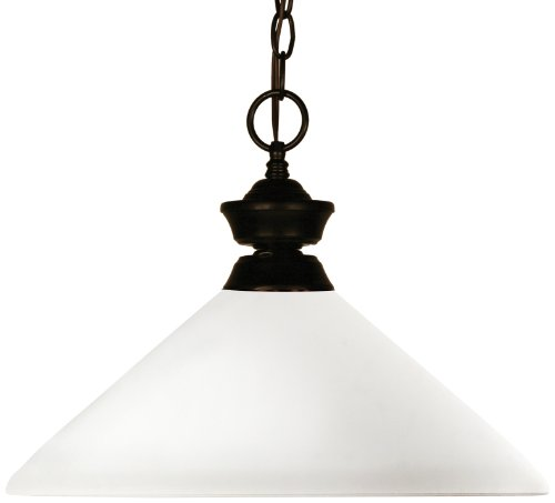 Z-Lite 100701BRZ-AMO14 Chance/Aztec One Light Pendant, Steel Frame, Bronze Finish and Matte Opal Shade of Glass Material - Aztec Ceiling Lighting