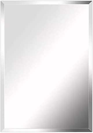 MIRROR TREND Premium Large Frameless Wall Mirror with Streamlined 1 Inch Bevel and with Solid Wood Backing Panel for Bathroom, Vanity, Bedroom, Living Room. 24 x 36