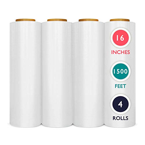 - 4 Rolls 16 inch x 1500 Ft Pre-Stretched Wrap, 30 Gauge High Performance Film Replaces 70 Gauge Low Films, Clear Hand Stretch Wrap