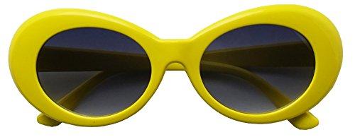 Colorful Oval Kurt Cobain Inspired Mod Round Pop Fashion Sunglasses (Yellow, - Yellow Sunglasses Frame