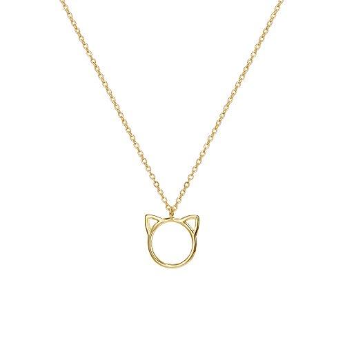 Befettly Women Cat Pendant Necklace 14K Gold Fill Dainty Handmade Cute Choker Necklace CK11-Cat