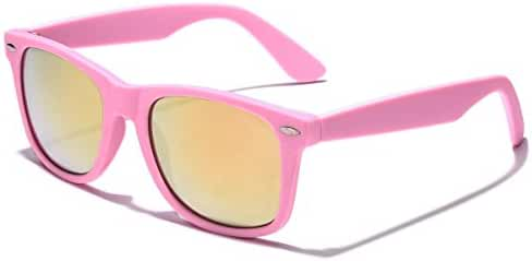 Colorful Retro Fashion Sunglasses - Rubber Frame with Color Mirror Lens