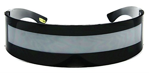 WebDeals - Futuristic Wrap Around Monoblock Cyclops Shield Sunglasses (Black -