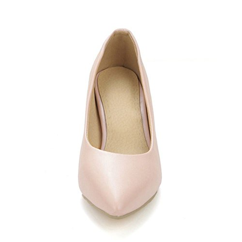 COOLCEPT Damen Fashion Slip-On Geschlossene Hochzeit Pumps Extra Sizes Rosa