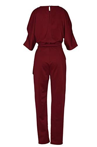 Rouge Kelice Longues avec Epaules Combinaisons Femmes Combi Pantalons Ceinture Nu Dos qq4rgvAWU