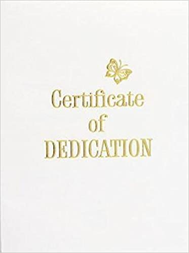 Contemporary SteelEngraved Baby Dedication Certificate Pkg Of