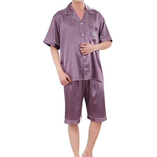 (Men Women Couple Casual Silk Short-Sleeved Tops, AmyDong Spring Solid Comfortable Home Pyjamas Set Purple)