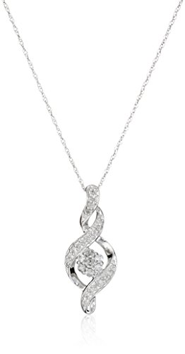 Womens Gold Necklace Diamond (10K White Gold Diamond Twist Pendant Necklace (1/4 cttw), 18