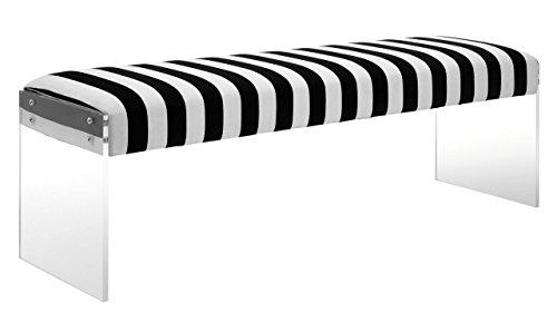 Tov Furniture Envy Paris Velvet/Acrylic Bench, - White And Bench Black Cushion