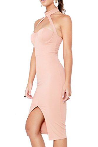 Chaud Bodycon Robe Party Nus Combishort Femme Midi Fendu Sexy Dos Simplee Soire Clubwear Apparel Rose vqT0Wf