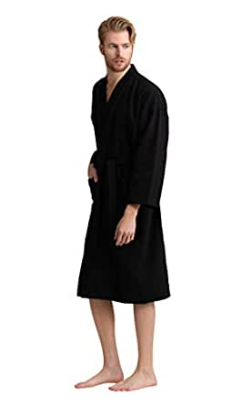 Soft Touch Linen Men's Waffle Spa Bathrobe with 100% Turkish Cotton. Long, Lightweight, Absorbent (Small, Black)