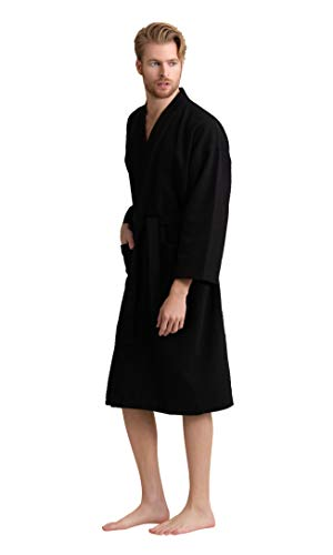 Men's Robe, 100% Turkish Cotton Long Waffle Spa Bathrobe, Diamond Pattern (XX-Large, Black)