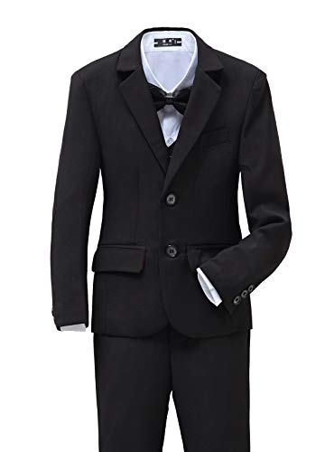 Yuanlu 5 Piece Toddler Suit for Boys Tuxedos for Wedding Size 6 Black (Five Tuxedo Set Piece)