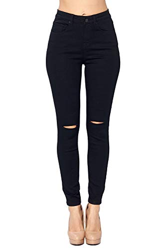 Blue Age Women's Ripped High Rise Skinny Jeans Black (JP1099H_BLK_11)