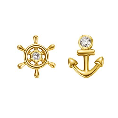 (Carleen 18k Solid Yellow Gold Dainty Tiny Single Statement Earring Delicate Fine Diamond Stud Earring For Women Girls (Rudder & Anchor))