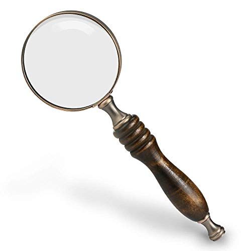 WIOR 10X Handheld Magnifying Glass Antique Copper Magnifier with Sandawood Handle