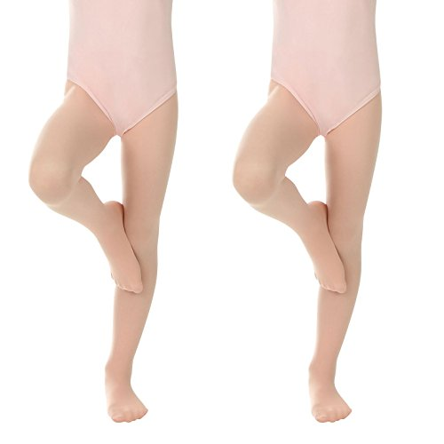 Silky Toes Girls' Ultra Soft Pro Dance Tight/Ballet Stocking Footed Tights (Ballet Pink, 8-10) ()