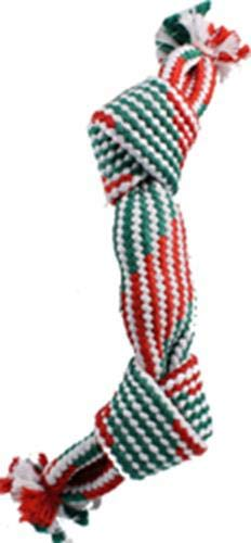 Ethical Christmas 58432 689843 Holiday Super Squeak 2 Knot Rope Dog Toy, Red/Green, 14