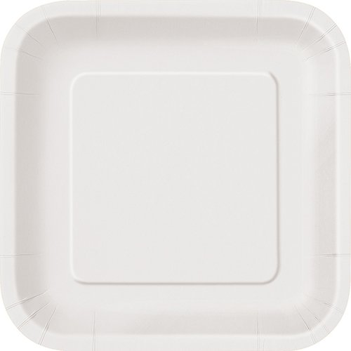 Square White Paper Plates, 14ct ()