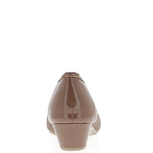 Ballerine marrone su tacchi offset 4 cm