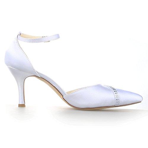 Satin A3139 Pour Talon Mariée Mariage Femme Chaussures Pompes En Pointu Strass De Blanc Bout Jia Haut d187xd